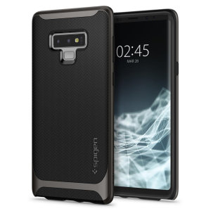 The Spigen Neo Hybrid in gunmetal colour is the new leader in lightweight protective cases. Spigen's new Air Cushion Technology reduces the thickness of the case while providing optimal corner protection for your Samsung Galaxy Note 9.