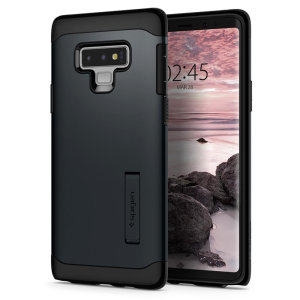 The Slim Armor case for the Samsung Galaxy Note 9 in metal slate has shock absorbing technology specifically incorporated to protect the device from impacts from any angle.