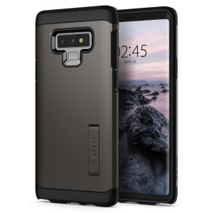 The Spigen Tough Armor in gunmetal is the new leader in lightweight protective cases. The new Air Cushion Technology corners reduce the thickness of the case while providing optimal protection for your Samsung Galaxy Note 9.