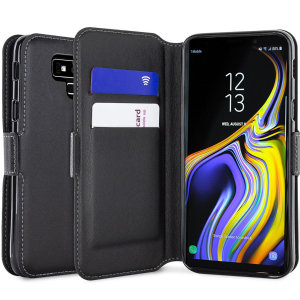 All the benefits of a wallet case but far more streamlined. The Genuine Leather wallet in black is the perfect partner for the the Samsung Galaxy Note 9 owner on the move. What's more, this case transforms into a handy stand to view media.