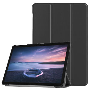 Protect your Samsung Galaxy Tab S4 with this fantastic leather-style stand case. The frame folds out to become a media viewing stand, perfect for streaming videos or gaming.