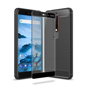 Flexible rugged casing with a premium matte finish non-slip carbon fibre and brushed metal design, the Olixar Sentinel case in black keeps your Nokia 6 2018 protected from 360 degrees with the added bonus of a tempered glass screen protector.