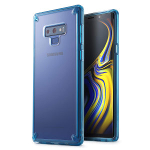 Protect the back and sides of your Samsung Galaxy Note 9 with this incredibly durable clear blue crystal-backed Fusion Case by Ringke.