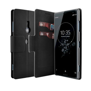 The Olixar leather-style Sony Xperia XZ3 Wallet Stand Case in black provides enclosed protection and can also be used to hold your credit cards. The case also transforms into a viewing stand for added convenience.