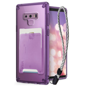 The 3-in-1 kit in purple Rearth Ringke Fusion Samsung Galaxy Note 9 is an exceptional utility with a professional aesthetic to create a case that's perfect for everyday use. Complete with flip wallet attachment and wrist strap to secure your phone.