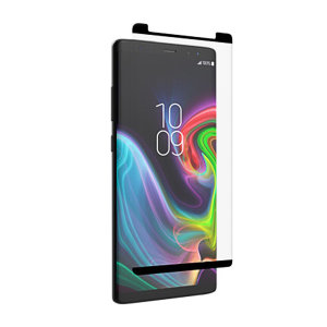 This contoured glass screen protector from InvisibleShield for Samsung Galaxy Note 9 covers even the curved edges of your device, while also sporting an ergonomic design engineered to be compatible with a wide range of cases.