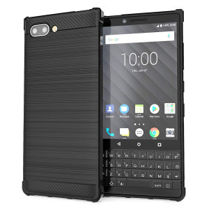 Flexible rugged casing with a premium matte finish non-slip carbon fibre and brushed metal design, the Caseflex case in black keeps your Blackberry KEY2 protected.