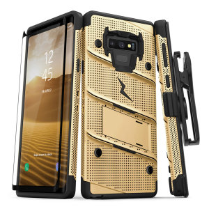 Equip your Samsung Galaxy Note 9 with military grade protection and superb functionality with the ultra-rugged Bolt case in gold from Zizo. Coming complete with a tempered glass screen protector, handy belt clip and integrated kickstand.