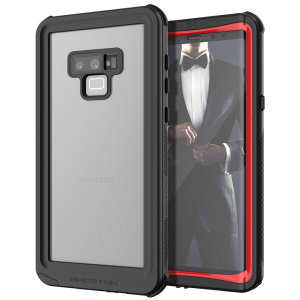 Shield your precious Samsung Galaxy Note 9 on both land and at sea with the extremely tough, yet incredibly stylish Nautical 2 Waterproof case from Ghostek in black with red trim. Protecting your Note 9 from depths of up to 1 meter for up to 30 minutes.