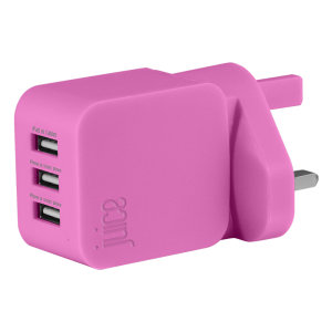 Designed to quickly charge tablets, smartphones and so much more, the Triple Juice Mains Charger in pink, features three USB ports and delivers 3.4 Amps to fast-charge even the largest and most power hungry devices.