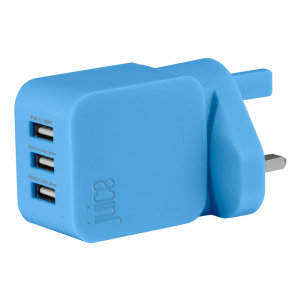 Designed to quickly charge tablets, smartphones and so much more, the Triple Juice Mains Charger in blue, features three USB ports and delivers 3.4 Amps to fast-charge even the largest and most power hungry devices.