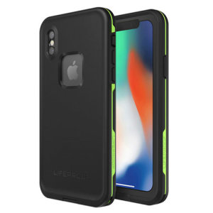 "Make your phone waterproof and experience the freedom to surf, sing in the shower, ski, snowboard, work on construction sites and have true iPhone X freedom anywhere you go with the LifeProof Fre case in ""night lite"" (black and green)."