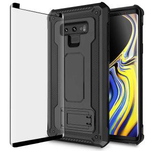 Statten Sie Ihren Galaxy Note 9 mit einem 360-Grad-Schutz aus mit diesem neuen schwarzen Olixar Manta Hülle und Glasschutz-Paket. Genießen Sie einen integrierten Kickstand, der für die Medienbesichtigung konzipiert ist, und ergänzen Sie gleichzeitig das futuristische und robuste Militärdesign der Hülle.