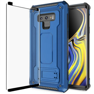 Equip your Galaxy Note 9 with a 360 degree protection with this new blue Olixar Manta case & glass screen protector bundle. Enjoy a built-in kickstand designed for media viewing, whilst also compliments the case's futuristic & rugged military design.