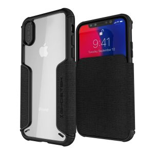 The Exec premium case in black provides your iPhone XS with fantastic protection. Also featuring storage slots for your credit cards, ID and cash.