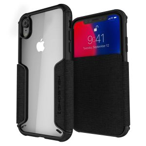 The Exec premium case in black provides your iPhone XR with fantastic protection. Also featuring storage slots for your credit cards, ID and cash.
