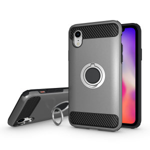 Made for the Apple iPhone XR, this tough silver ArmaRing case from Olixar provides extreme protection and a finger loop to keep your phone in your hand, whether from accidental drops or attempted theft. Also doubles as a stand.