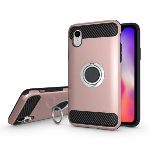 Made for the Apple iPhone XR, this tough yet elegant rose gold ArmaRing case from Olixar provides extreme protection and a finger loop to keep your phone in your hand, whether from accidental drops or attempted theft. Also doubles as a stand.