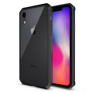 Custom moulded for the iPhone XR. This crystal clear with black bordering ExoShield tough case from Olixar provides a slim fitting stylish design and reinforced corner shock protection against damage, keeping your device looking great at all times.