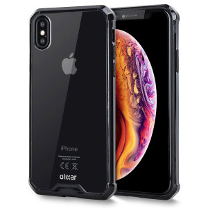 Custom moulded for the Apple iPhone XS Max. This black and clear Olixar ExoShield tough case provides a slim fitting stylish design and reinforced corner shock protection against damage, keeping your device looking great at all times.