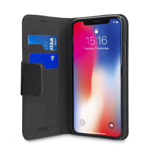 Olixar Leather-Style iPhone XR Wallet Stand Case - Black