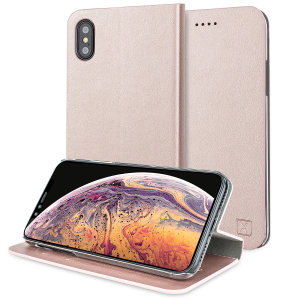 Protect your iPhone XS Max with this durable and stylish rose gold leather-style wallet case from Olixar, featuring two card slots. What's more, this case transforms into a handy stand to view media.