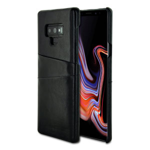 Designed for the Samsung Galaxy Note 9, this black executive leather-style case from Olixar provides a perfect fit and durable protection against scratches, knocks and drops with the added convenience of 2 RFID protected credit card-sized slots.