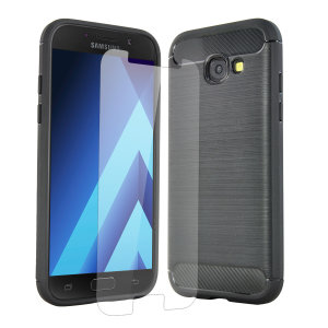 Flexible rugged casing with a premium matte finish non-slip carbon fibre and brushed metal design, the Olixar Sentinel case in black keeps your Samsung Galaxy A5 2017 protected from 360 degrees with the added bonus of a tempered glass screen protector.