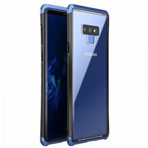 Protect your Samsung Galaxy Note 9's back and sides with this unique blue and black aluminium bumper with glass back. The bumper protects the outer edges while the tempered glass back plate protects the rear, providing a stunning finish in the process.