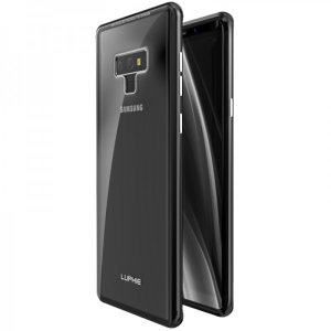 Protect your Samsung Galaxy Note 9 - front, back and sides with this unique black aluminium bumper with glass back. The bumper protects the outer edges while the tempered glass back plate protects the rear, providing a stunning finish in the process.