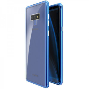 Protect your Samsung Galaxy Note 9 - front, back and sides with this unique blue aluminium bumper with glass back. The bumper protects the outer edges while the tempered glass back plate protects the rear, providing a stunning finish in the process.