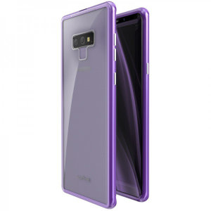 Protect your Samsung Galaxy Note 9 - front, back and sides with this unique purple aluminium bumper with glass back. The bumper protects the outer edges while the tempered glass back plate protects the rear, providing a stunning finish in the process.