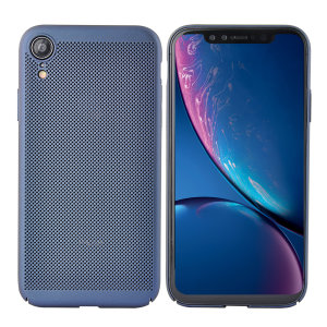 A supremely precision engineered lightweight slimline case in blue with a perforated mesh pattern that looks great, adds grip and aids heat dissipation from your iPhone XR, as well as enhance the high performance beauty of the device.