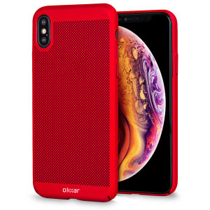 A supremely precision engineered lightweight slimline case in brazen red with a perforated mesh pattern that looks great, adds grip and aids heat dissipation from your Apple iPhone XS Max, as well as enhance the high performance beauty of the device.