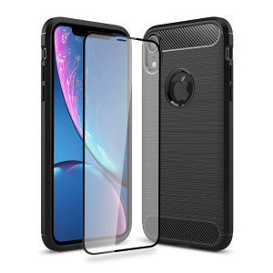 Flexible rugged casing with a premium matte finish non-slip carbon fibre and brushed metal design, the Olixar Sentinel case in black keeps your Apple iPhone XR protected from 360 degrees with the added bonus of a tempered glass screen protector