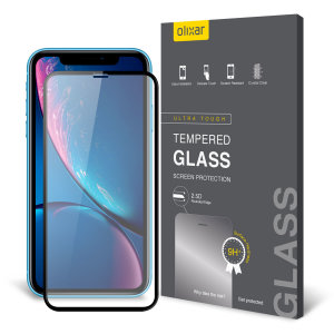 This ultra-thin tempered glass full cover screen protector for the Apple iPhone XR from Olixar with black front offers toughness, high visibility and sensitivity all in one package.