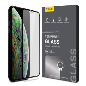 This ultra-thin tempered glass full cover screen protector for the Apple iPhone XS Max from Olixar with black front offers edge to edge toughness, high visibility and sensitivity all in one package.