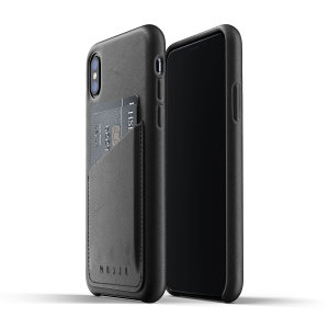 Designed for the iPhone XS, this black genuine leather case from Mujjo provides a perfect fit and durable protection against scratches, knocks and drops with the added convenience of a credit card-sized slot.