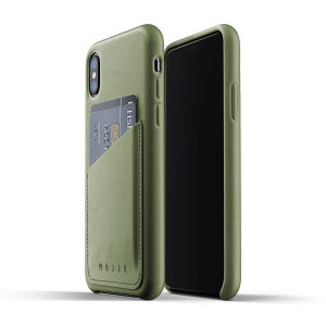 Designed for the iPhone XS, this olive genuine leather case from Mujjo provides a perfect fit and durable protection against scratches, knocks and drops with the added convenience of a credit card-sized slot.
