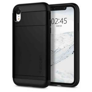 The Spigen iPhone XR Slim Armor CS Case in black features a back compartment that can hold up to 2 credit cards or IDs. It is constructed with the Air Cushion Technology that gives extreme shock absorption and device protection.