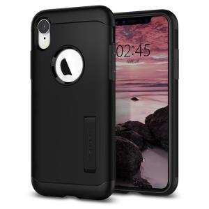 The Slim Armor case for the iPhone XR in black has shock absorbing technology specifically incorporated to protect the device from impacts from any angle.