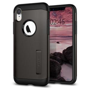 The Slim Armor case for the iPhone XR in gun metal has shock absorbing technology specifically incorporated to protect the device from impacts from any angle.