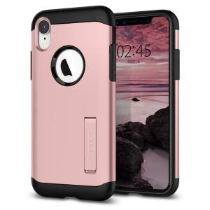 The Slim Armor case for the iPhone XR in rose gold has shock absorbing technology specifically incorporated to protect the device from impacts from any angle.