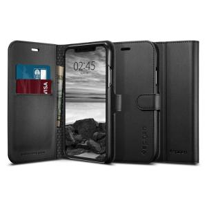 The slim Spigen iPhone XR Wallet S Case in black comes complete with a card slot, stand feature and is made with a luxurious faux leather material for a polished and professional look.