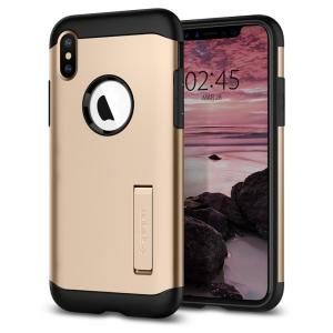 The Slim Armor case for the iPhone XS in champagne gold has shock absorbing technology specifically incorporated to protect the device from impacts from any angle.