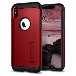 Die Slim Armor Tasche für das iPhone XS in Rot verfügt über eine stoßdämpfende Technologie, die speziell integriert ist, um das Gerät vor Stößen aus jedem Winkel zu schützen.