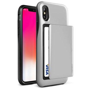 Skydda din iPhone XS med detta exakt utformade skal i svart från VRS Design. Den här hårda skalkonstruktionen, som är tillverkad av ett tåligt men tunt material, med mjuk kärna innehåller patenterad glidteknik för att förvara två kreditkort eller ID.