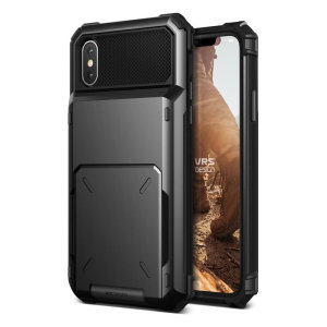 Protect your iPhone XS with this precisely designed case in metal black from VRS Design. Made with tough yet slim material, this hardshell construction with soft core features patented flip technology to store credit cards or ID.