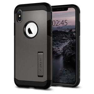 The Spigen Tough Armor in gunmetal is the new leader in lightweight protective cases. The new Air Cushion Technology corners reduce the thickness of the case while providing optimal protection for your iPhone XS.