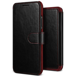 The VRS Design Dandy Wallet Case in black for the iPhone XS comes complete with card slots, a large document pocket and is made with a luxurious leather-style material for a classic, prestige and professional look.